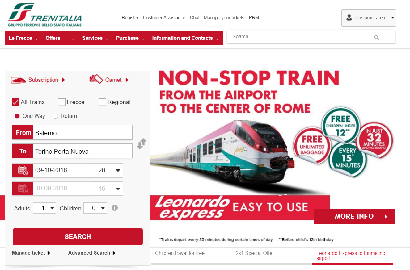 TrenItalia Home Page in English