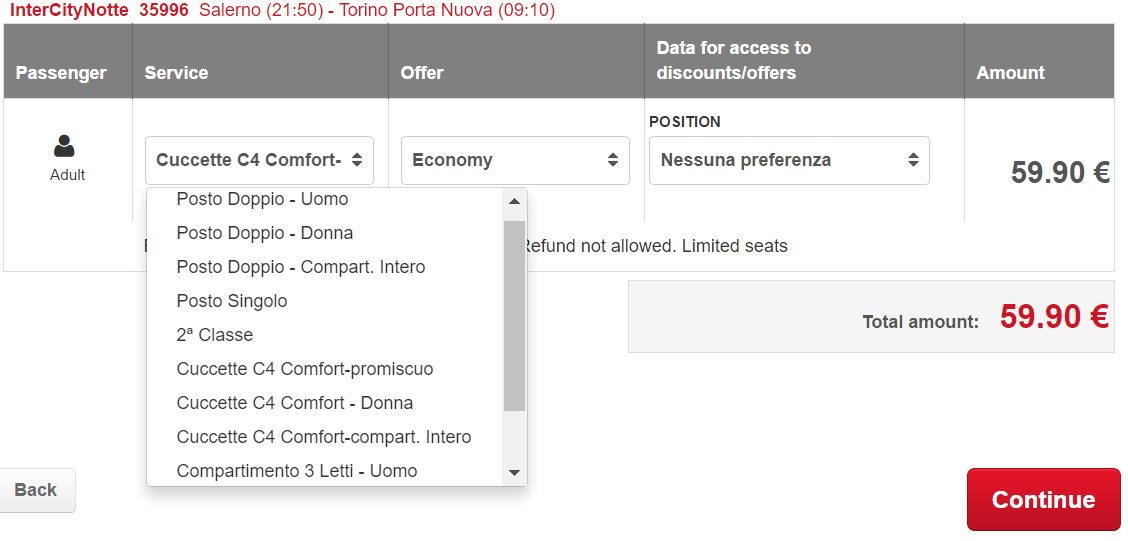 TrenItalia On Train Accommodation