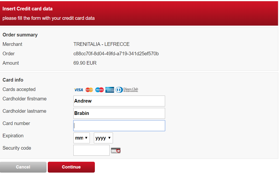 TrenItalia Payment Page