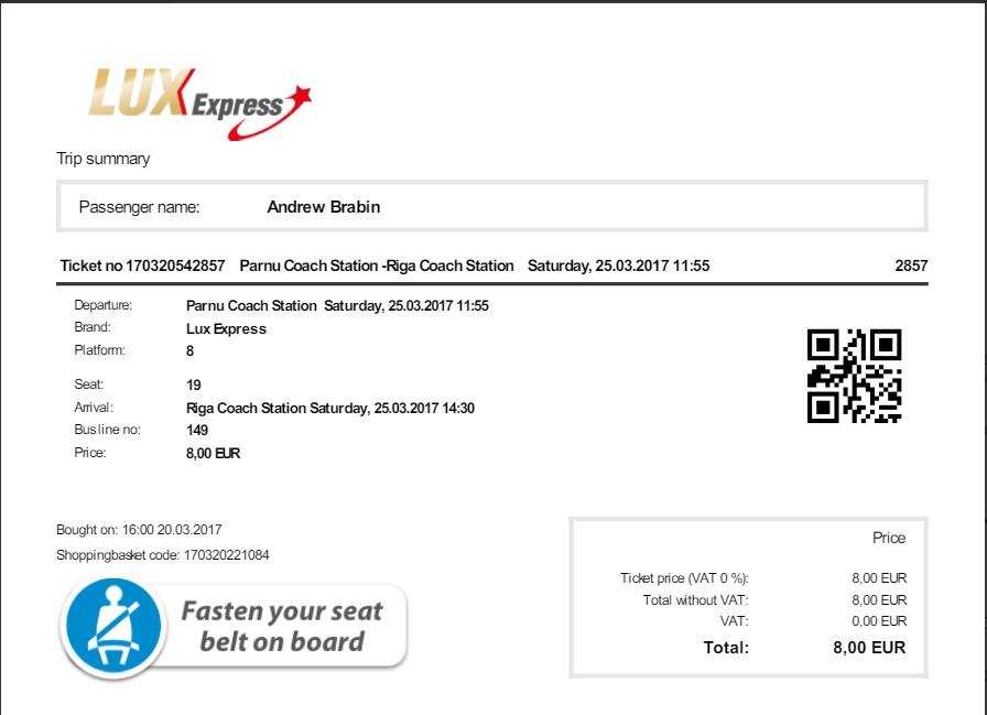 LUX Express Ticket