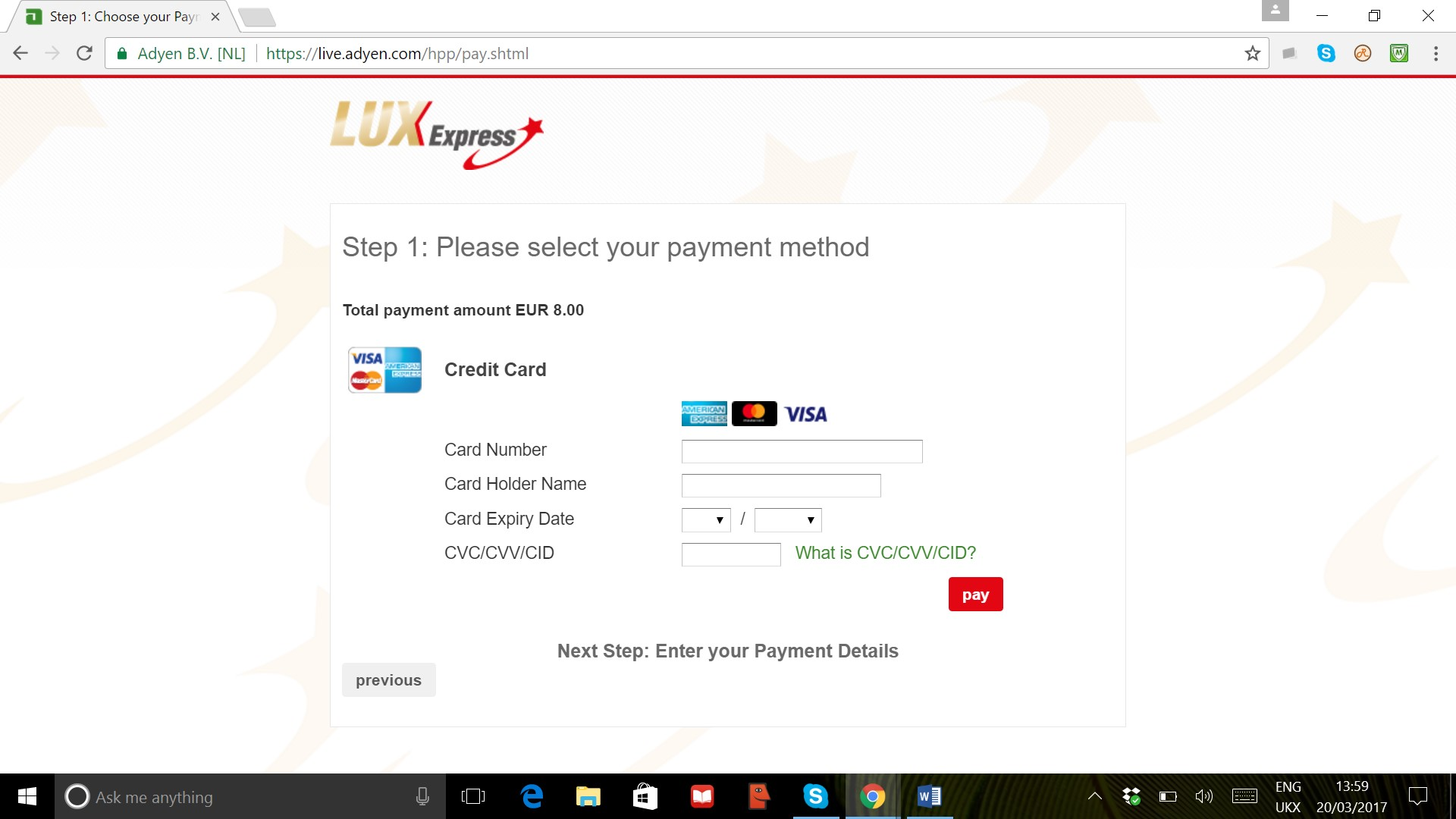 LUX Express Payment Page