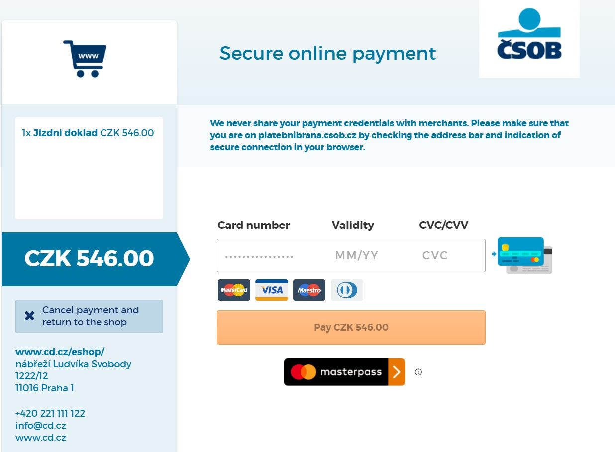 Czech Railways Payment Page