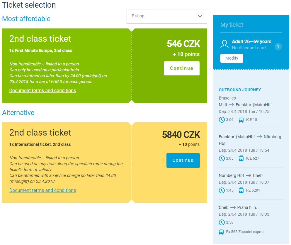 Czech Railways Price Confirmation