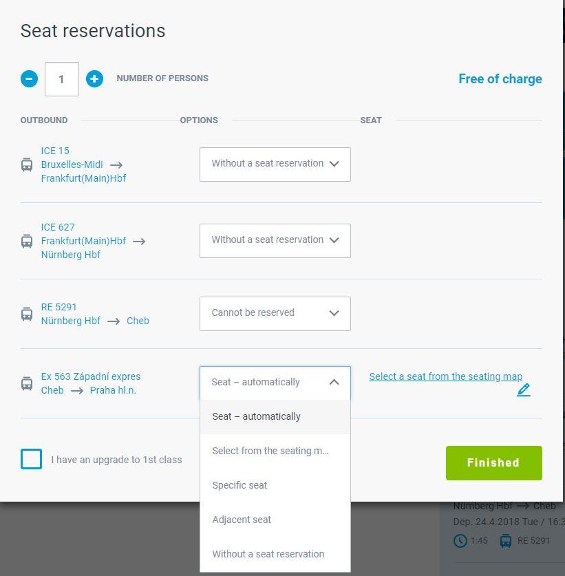 Czech Railways Seating Options
