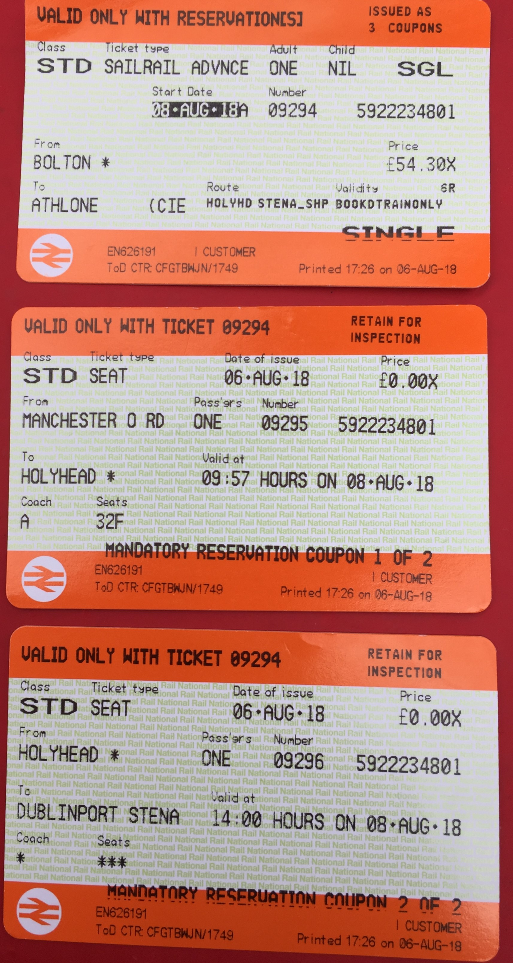 Irish Rail Sail Ticket